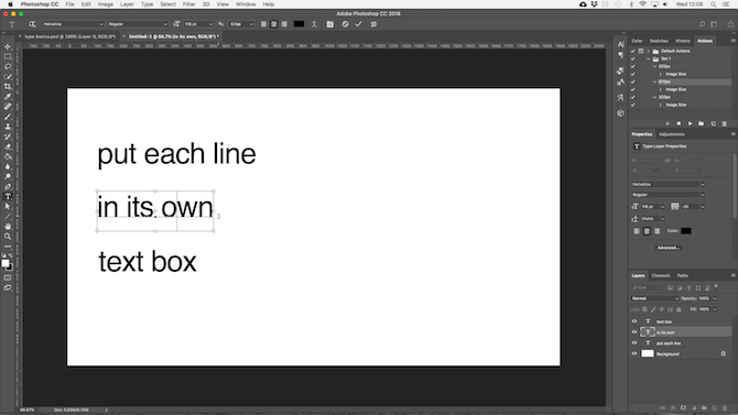 working with text in photoshop - photoshop wrap headers