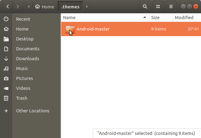 Copy and paste theme folder into hidden .themes folder in Nautilus