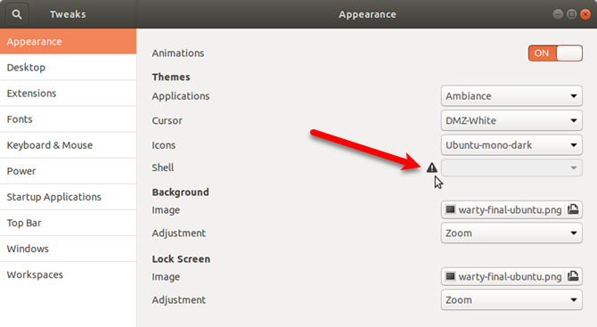 Problem changing Shell theme in Tweaks to change ubuntu theme