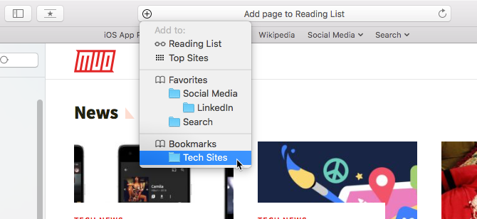 Add a bookmark using the plus icon on the Smart Search box