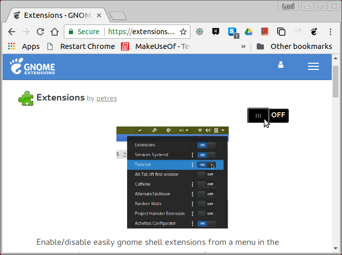 Turn on an extension on GNOME Extensions website in Chrome