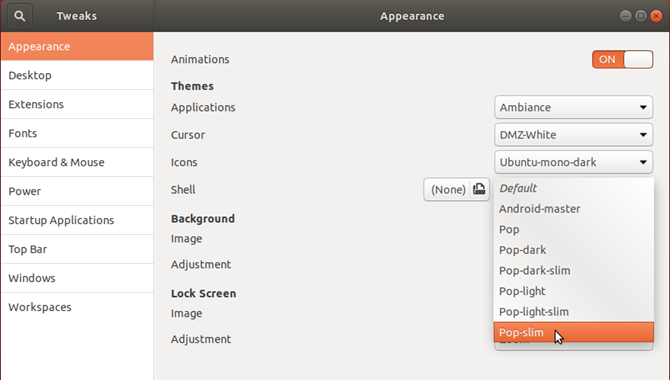 Select a Shell theme in Tweaks