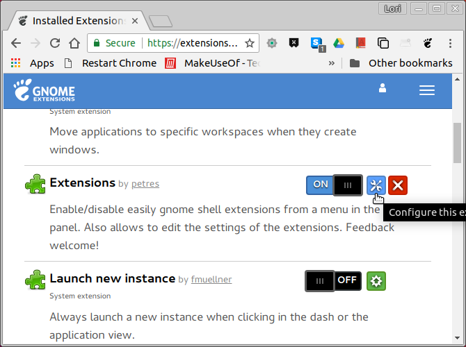 Manage extensions on GNOME Extensions website