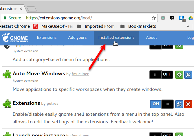 List of installed extensions in Chrome