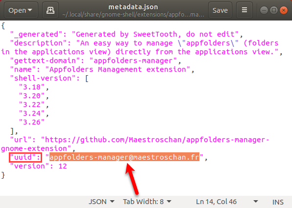 Copy the uuid in the metadata.json file