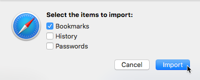 Select items to import Safari