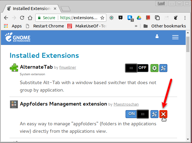 Uninstall an extension on the GNOME Extensions website