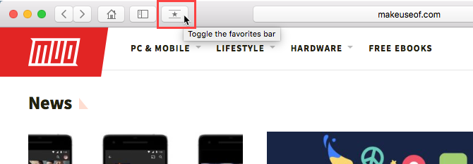 Toggle the favorites bar button
