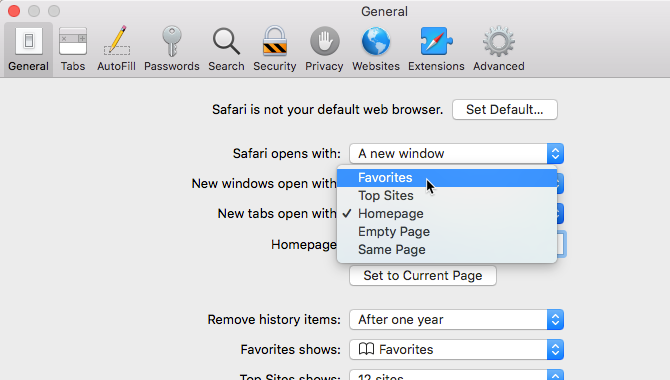 New tabs open with option in Safari's settings