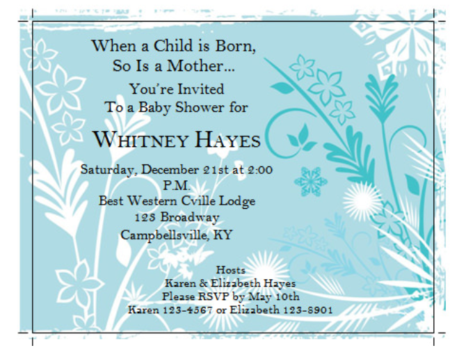 Free Microsoft Word Invitation Templates - blue baby shower