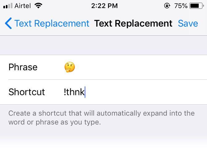 emoji shortcut in ios