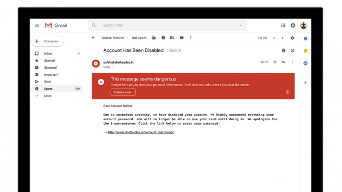 How to Turn Off Gmail's New AI Features (And Why You Should) Gmail Spam Warning e1525211536428