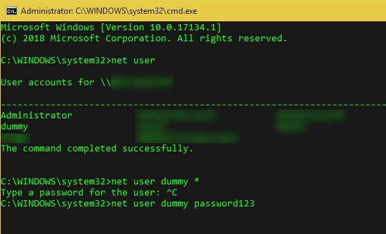 Windows-Change-Password-Command-Line