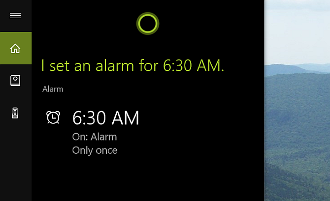 Cortana Desktop Set Alarm