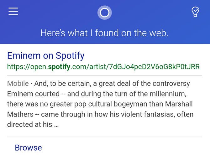 Cortana Play Music App