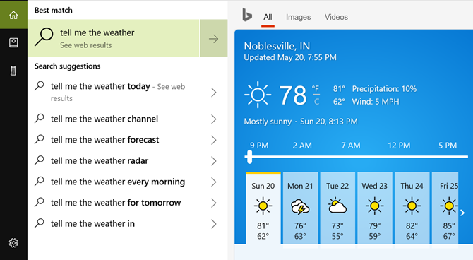 Cortana Desktop Weather