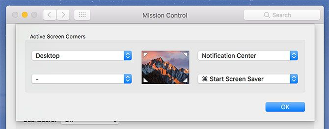 Configuring Hot Corners mac
