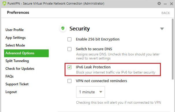 IPv6 leak protection in PureVPN