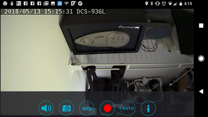 WiFi cameras - camera view of safe