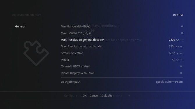 Configure resolution on the Netflix add-on