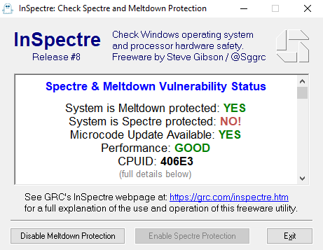 Free Security Tools - InSpectre detects Spectre and Meltdown vulnerabilities in your CPU
