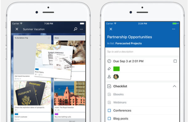 Trello iOS project management app