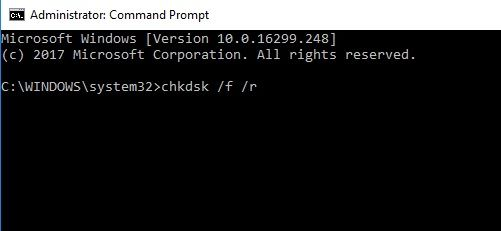 This screen capture show show the chkdsk command can repair a corrupted drive, which can fix the inaccessible boot device error