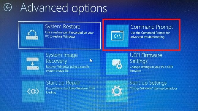 Windows 10's advanced options which include the command prompt