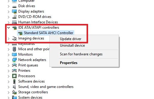 This screen capture shows how you can update your device drivers from Windows Device Manager