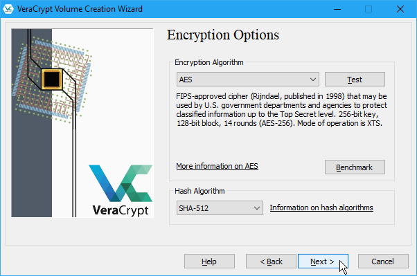 Select Encryption Options