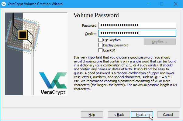 Enter a Volume Password