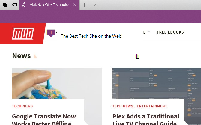 Type a note on a web page in Edge
