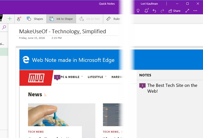 Web note from Edge in OneNote