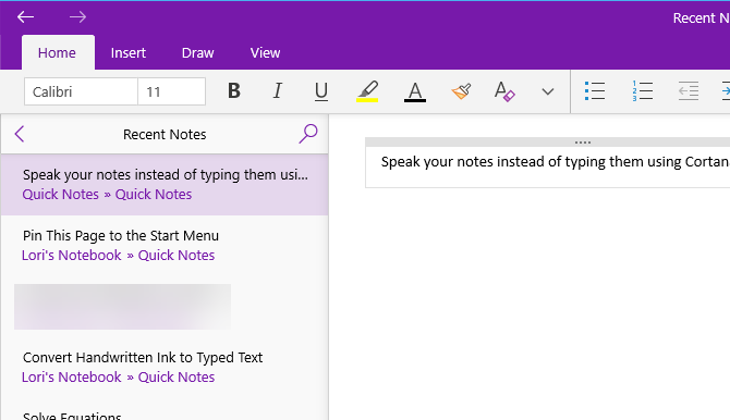 Note added to OneNote using Cortana