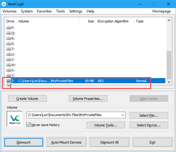 Volume mounted in VeraCrypt