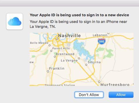 Mac 2FA verification screen