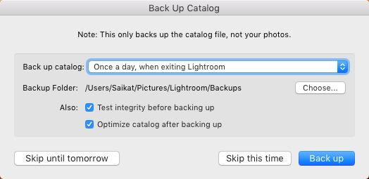 how to change location of lightroom catalogs file