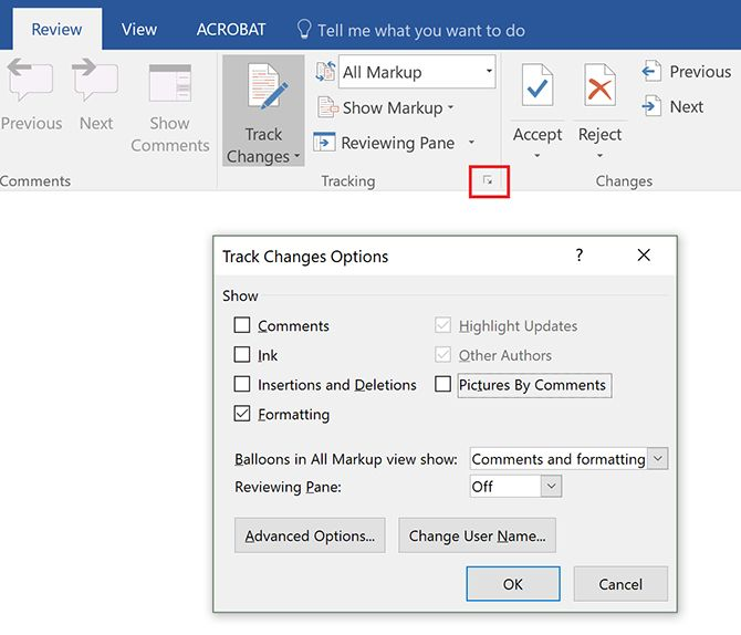 How to Filter and Apply Tracked Changes in Microsoft Word Track Change Options