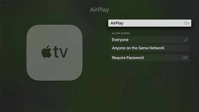 Turn AirPlay On or Off on Apple TV