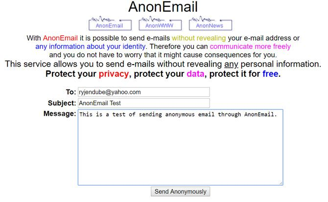 how to send completely anonymous emails