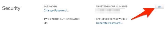 Apple ID Edit Security