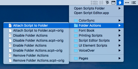 Attach script to folder in folder actions setup Mac