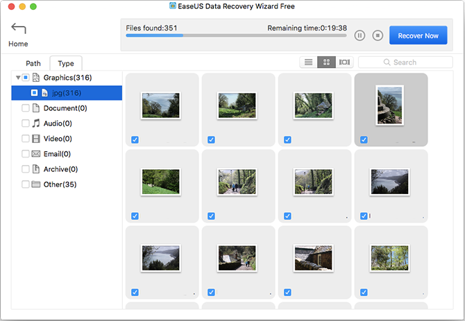 EaseUS recover deleted images
