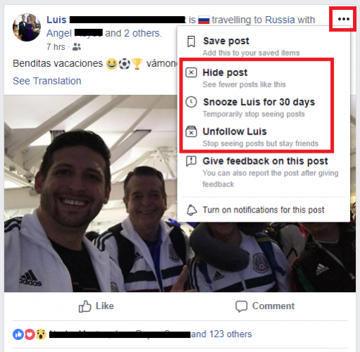 facebook hide post