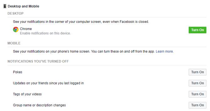 facebok notifications