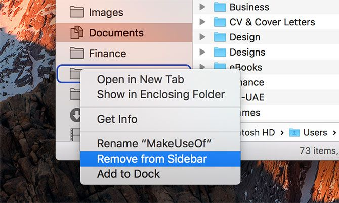 macOS Finder Sidebar Folder
