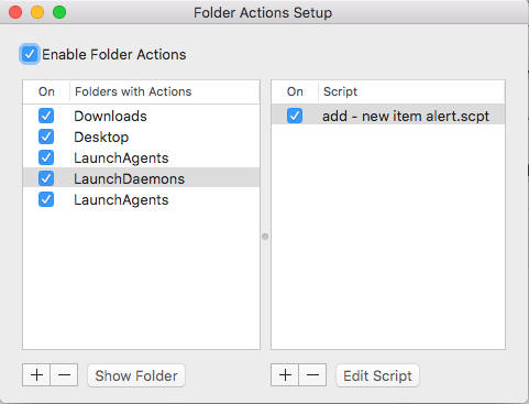 folder actions setup from the dialog window Mac