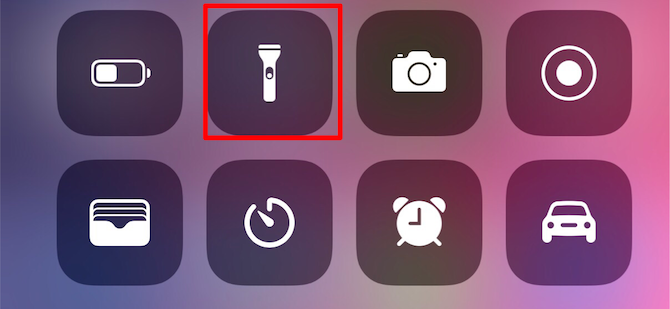 iPhone Flashlight Control Center