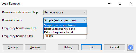 Remove vocals from music in Audacity