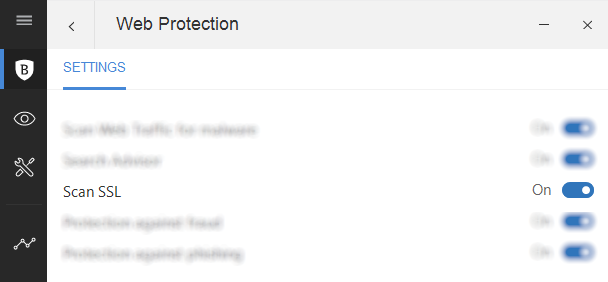 Adjust SSL settings in Bitdefender